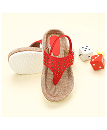 LCL Sandals With Back Strap Rhinestone Studded - Red