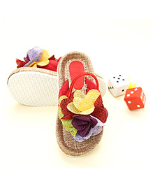 LCL Sandals With Back Strap Floral Applique - Red