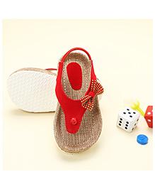 LCL Jute Sandals Bow Applique - Red