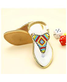 LCL Ethnic Wear Beaded Sandal - White
