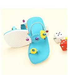 LCL Flip Flop With Back Strap Floral Applique - Blue