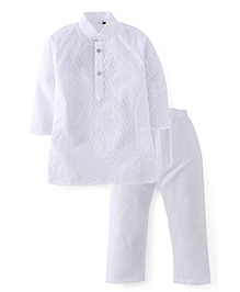 Robo Fry Full Sleeves Kurta And Pajama Set Embroidery Design - White