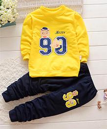 Pre Order - Dells World Number Print T-Shirt & Pant Set - Yellow & Blue