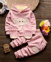 Dells World Winter Wear T-Shirt & Pant Set - Pink