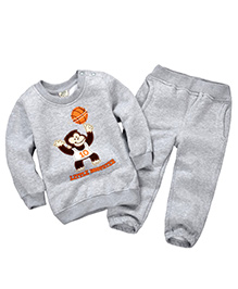 Dells World Monkey Print T-Shirt & Pant Set - Grey
