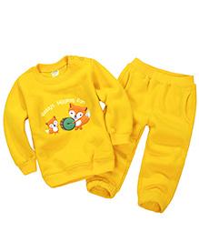 Pre Order - Dells World Fox Print T-Shirt & Pant Set - Yellow