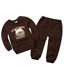 Pre Order - Dells World Winter Animal Print T-Shirt & Pant Set - Brown
