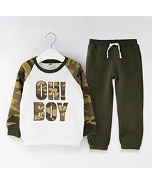 Pre Order - Dells World Boy Print T-Shirt & Pant Set - Green