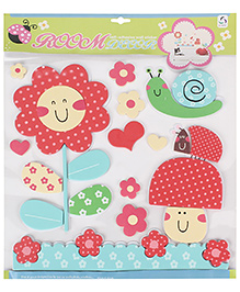 Flower And Heart Shaped Room Decor Sticker - Red Multicolor