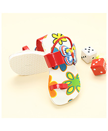 LCL Sandals With Back Strap Butterfly Applique - Red White