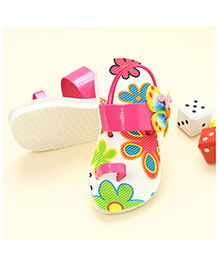 LCL Sandals With Back Strap Butterfly Applique - Pink White