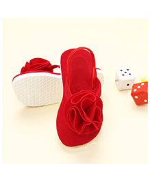 LCL Floral Applique Velvet Slippers - Red