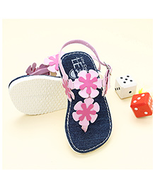 LCL Sandals With Back Strap Floral Appliques - Pink