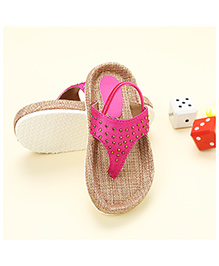 LCL Sandals With Back Strap Rhinestone Studded - Pink