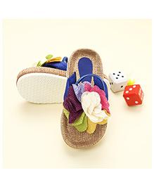 LCL Sandals With Back Strap Floral Applique - Blue