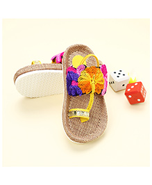 LCL Jute Sandal Floral Design - Yellow