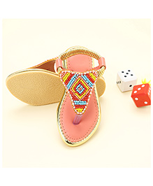LCL Ethnic Wear Beaded Sandal - Peach
