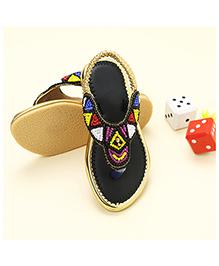 LCL Ethnic Wear Beaded Sandal - Black