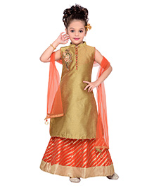 Enfance Solid Enchor Stiching A-Line Kurta Lehnga Set With Dupatta- Orange & Golden