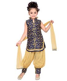 Enfance Kurta Harem & Dupatta Ethnic Set - Blue & Golden