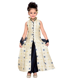 Enfance Princess Cut Kurta Pant & Dupatta - Cream & Navy Blue