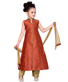 Enfance Ethnic Mandarin Collared Dress With Pant & Dupatta - Orange & Golden