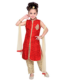 Enfance Partywear Embroidered Kurta Pant & Dupatta Set - Red