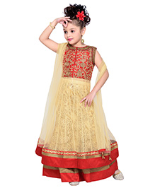 Enfance Embroidered Lehenga With Dupatta - Red & Golden