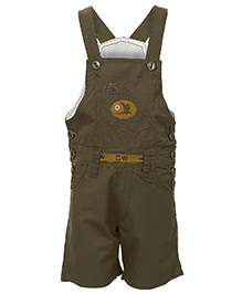 Benext Sleeveless Embroidered Dungaree With Patch - Khaki