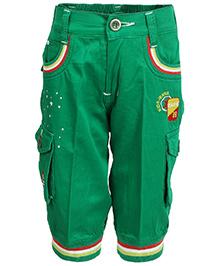 Benext Solid Boy's Green Denim Three Fourths 5-6years Cotton
