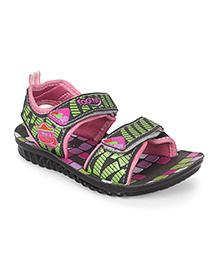 Footfun Sandals With Dual Velcro Closure - Pink Green