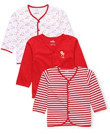 Babyhug Full Sleeves Vests Multi Print Pack Of 3 - White Red