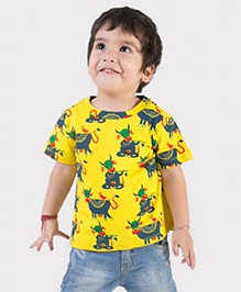 Tiber Taber Half Sleeves Mosquito Repellent T-Shirt Cow Print - Yellow