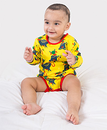 Tiber Taber Full Sleeves Mosquito Repellent Onesie Cow Print - Yellow