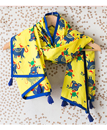 Tiber Taber Mosquito Repellent Stole Cow Print - Yellow
