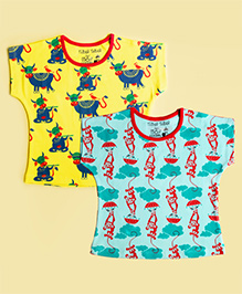Tiber Taber Short Sleeves Mosquito Repellent Top Pack of 2 - Yellow Blue