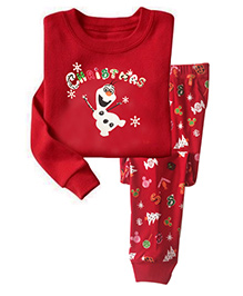 Pre Order Adores Full Sleeves Night Suit Christmas Print - Red