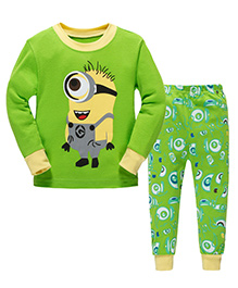 Pre Order Adores Full Sleeves Night Suit Minion Print - Green