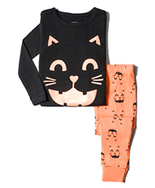 Pre Order Adores Full Sleeves Night Suit Kitty Print - Black Peach