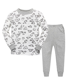 Pre Order Adores Full Sleeves Night Suit Vehicles Print - White Grey