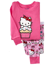 Pre Order Adores Full Sleeves Night Suit Kitty With Cupcake Print - Pink