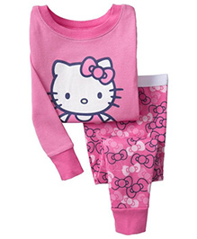 Pre Order Adores Full Sleeves Night Suit Kitty Print - Pink