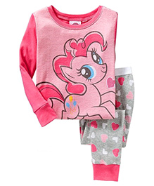 Pre Order Adores Full Sleeves Night Suit Pony Print - Pink