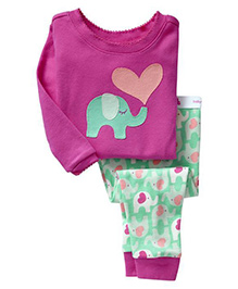 Pre Order Adores Full Sleeves Night Suit Elephant Patch - Purple Green