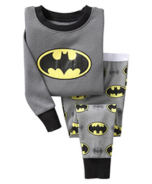 Pre Order Adores Full Sleeves Night Suit Batman Print - Grey