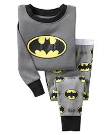 Pre Order Adores Full Sleeves Night Suit Batman Print - Grey