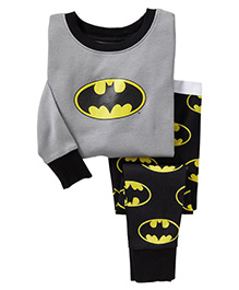 Pre Order Adores Full Sleeves Night Suit Batman Print - Grey Black