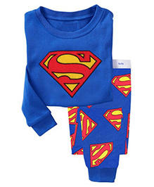 Pre Order Adores Full Sleeves Night Suit Superman Print - Blue