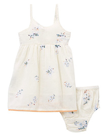 Yo Baby Sheer Floral Dress & Diaper Cover - White