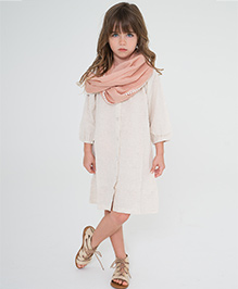 Yo Baby Button Up Shift Dress & Scarf - Off White & Beige